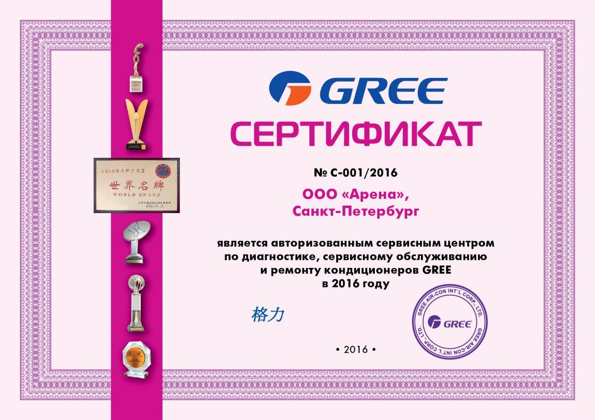 Сертификат о сервисном обслуживании Gree 2016